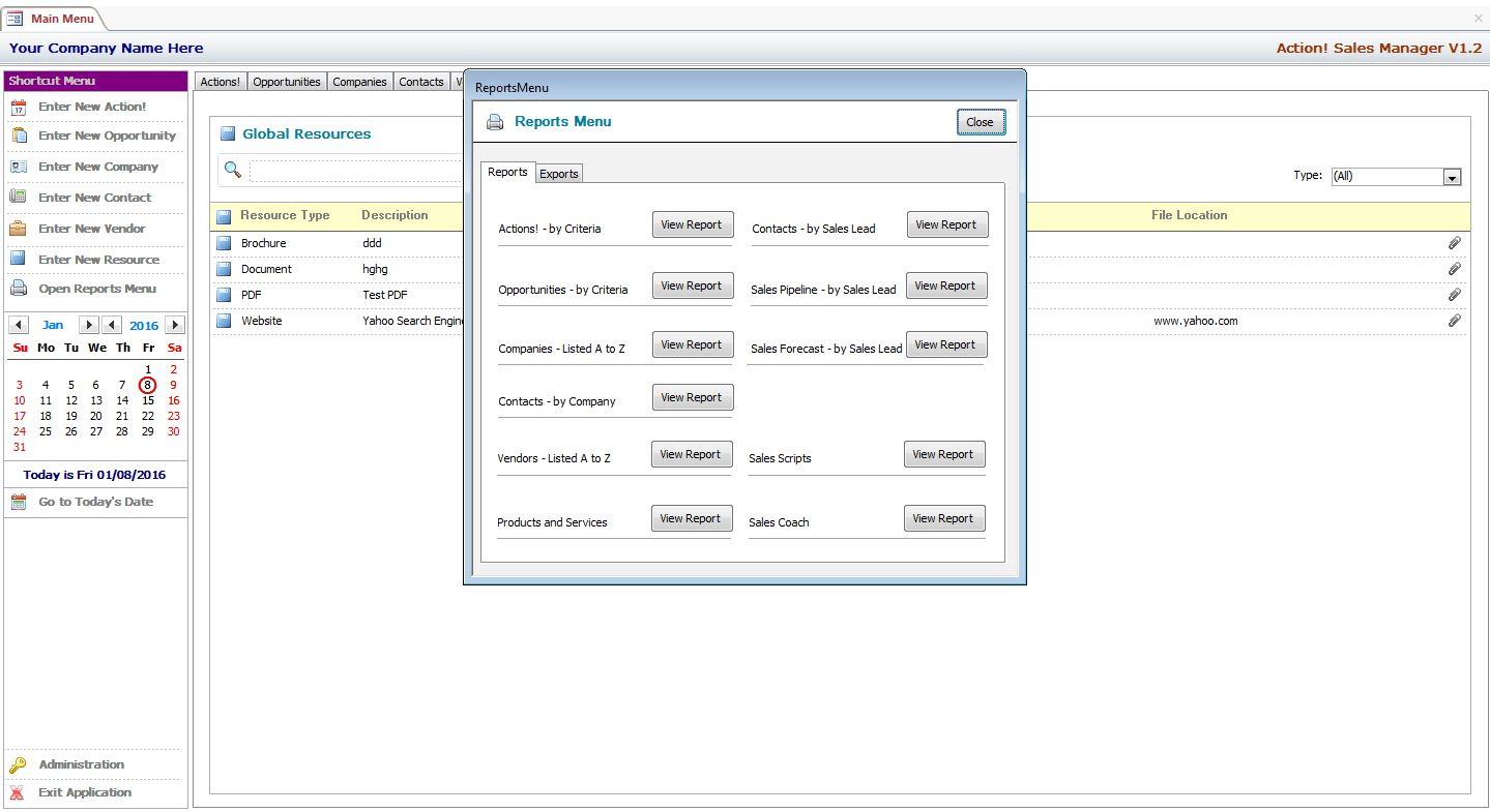 microsoft access sales manager template